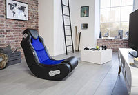 24Designs Racer - Race chair Game modern rocking chair - with Bluetooth & Speakers Technology- Black/Blue
