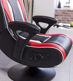 24Designs Silverstone - Racing seat Game chair modern rocking glossy styling - with Bluetooth & Speakers Technology - Black/Red