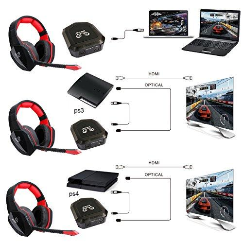 2 4G Optical Wireless Headset for PS4 PS3 Xbox one PC and TV Soft Leather  Earmuffs and High Sound Quality