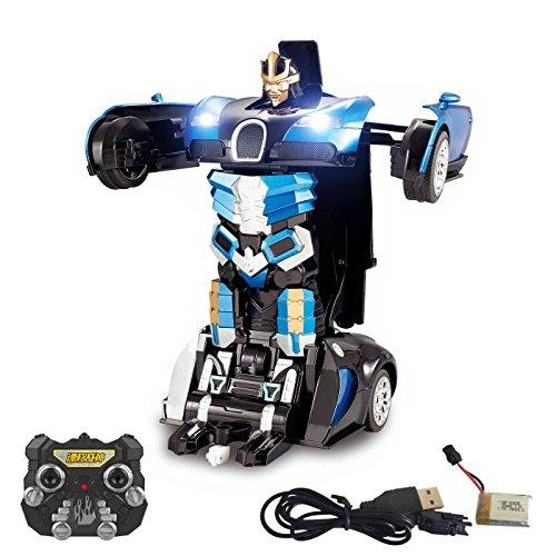 2.4Ghz Transformer Remote Control Car – Talking Auto Bot RC Drifting Car & Robot - Sound FX Lights – One Touch Transform - PL9131 Rechargeable Radio Controlled RC Car, Blue