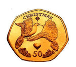 24K CARAT GOLD PLATED Isle of Man 2006 - Twelve Days of Christmas:Two Turtle Doves - 50p Coin with Air-tile Capsule holder