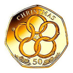 24K CARAT GOLD PLATED Isle of Man 2009 - Twelve Days of Christmas: Five Gold Rings - 50p Coin with Air-tile Capsule holder