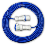 25 metre Blue Caravan Hook Up / Extension Cable with 16 Amp Plug & Socket - Professionally assembled by MCD Electrical