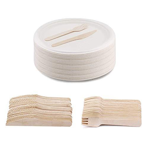 "250 Disposable Party Plates, 250 Forks 250 Knives [750 Pack] 10"" Round Plates + Wooden Cutlery Sets, Biodegradable Compostable, Eco Friendly Super Rigid Heavy Duty for Wedding Picnic Camping BBQ"