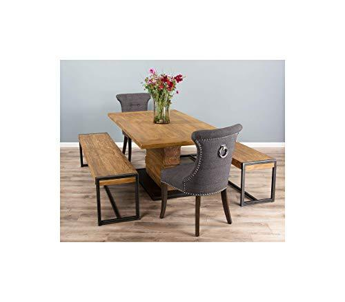 2m Reclaimed Teak Urban Fusion Pedestal Table with Two Backless Benches and Two Dove Grey Windsor Ring Back Dining Chairs