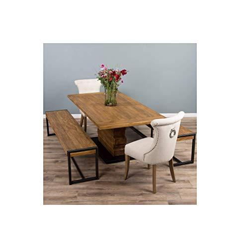 2m Reclaimed Teak Urban Fusion Pedestal Table with Two Backless Benches and Two Natural Windsor Ring Back Dining Chairs