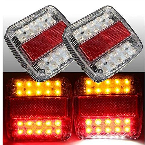2Pcs 12V 26 LED Taillight Turn Signal Light Rear Brake Stop Light Number License Plate Lamp For Car Truck Trailer E-Marked