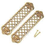 2x Large Trellis Solid Brass Finger/Push Plates - Heavyweight Victorian Door Pushes