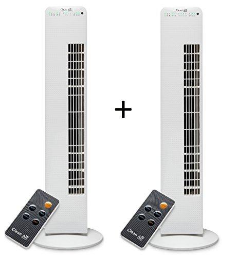 2x Luxery Tower Fan with Ionizer CA-405 - Airflow: up to 520m³/h - Turning circle (oscillation): approx 80º