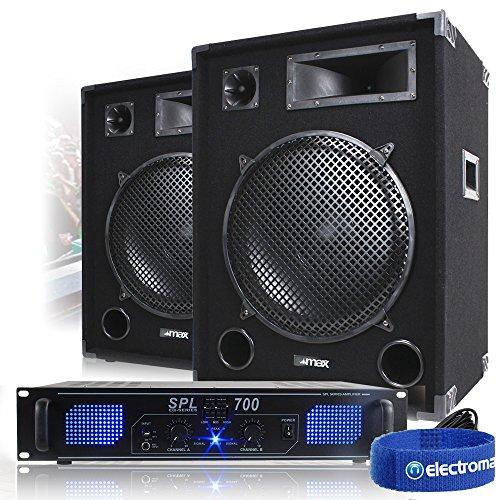 "2x Max 15"" PA Speakers + Power Amplifier + Cable Party Disco DJ System 2000W"