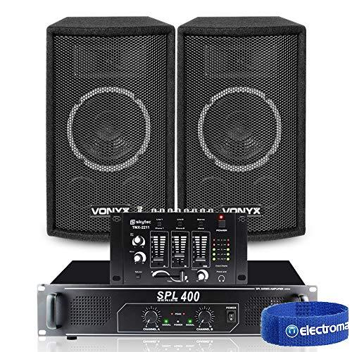 "2x Vonyx SL6 6"" PA Party Speakers + Amplifier + DJ Mixer Cables System 500W"