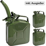 3 or 1 Pcs Metal Jerry Petrol Fuel Can - 5 or 20 Litres - Green Heavy Duty - with Spout …