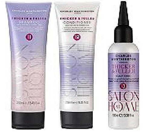 (3 PACK) Charles Worthington Thicker & Fuller Hair Set - Shampoo x 250ml, Conditioner x 250ml & Scalp Tonic x 100ml **Despatched within Double Wall Box**