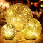 3 Pack Christmas Glass Ball LED Garden Light Wireless Gazing Lighting Crackle Globe Mood Lights Night Lamp Crystal Ball Lamps for Garden Patio Holiday Party Celebration Home Nursery Decoration