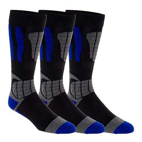 3 Pack LISH Men's Ski Socks - Over The Calf Thermal Snow Socks for Snowboarding and Skiing (Blue, M/L)