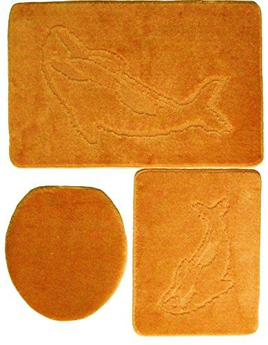 3 Piece Bathroom Furniture Set without Cut-Out Dolphin Pattern Bath Mat 85x55 Various Colours] terracotta