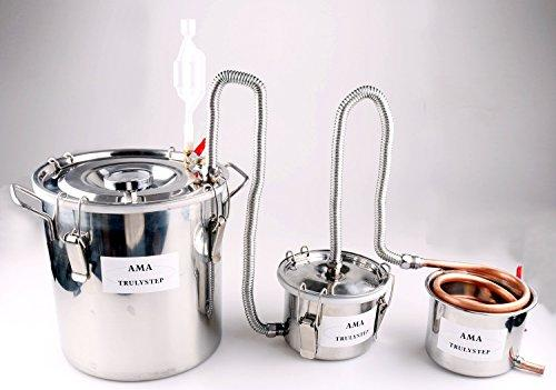 3 Pots DIY Home Distiller Moonshine Still Stainless Boiler Thermometer Spirits Whisky Wine Essential Oil Water Brewing Kit (12 L Litres, Copper)