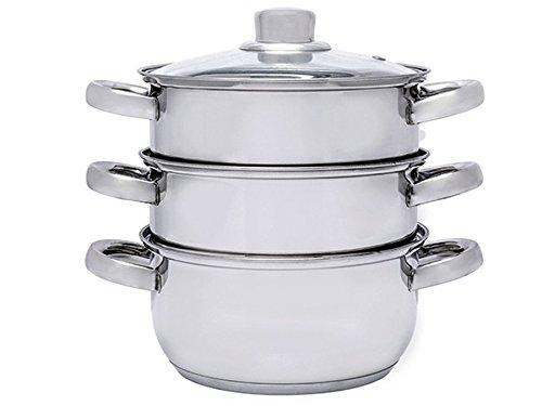 3-Tier INOX Stainless Steel Steamer Cooking Pot Dishwasher Safe 18CM Glass Lid