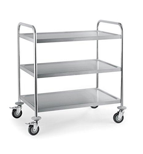 3 Tier Stainless Steel Serving/Clearing/Catering Trolley / 86CM x 54CM x 94CM