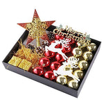 31Pcs Xmas Shatterproof Luxury Christmas Baubles Set, Christmas Tree Decorations, Gift Packing Boxes, Shiny/Glitter/Matte, Red And Gold