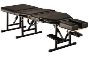 Porta-Lite Portable Chiropractic Table with Thoracic and Lumbar Drops: 55cm (21.65in) Wide, 178cm (70in) - 192cm (75.5in) Long. 3 Height Levels [Black]