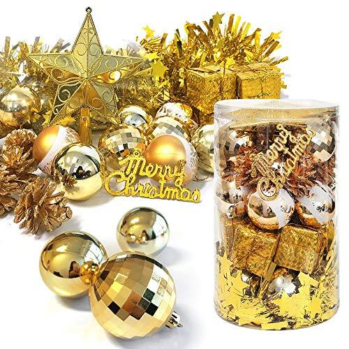 32ct Christmas Ball Assorted Pendant Shatterproof Ball Ornament Set Seasonal Decorations with Reusable Hand-help Gift Boxes Ideal for Xmas, Holiday and Party(32ct, Gold)