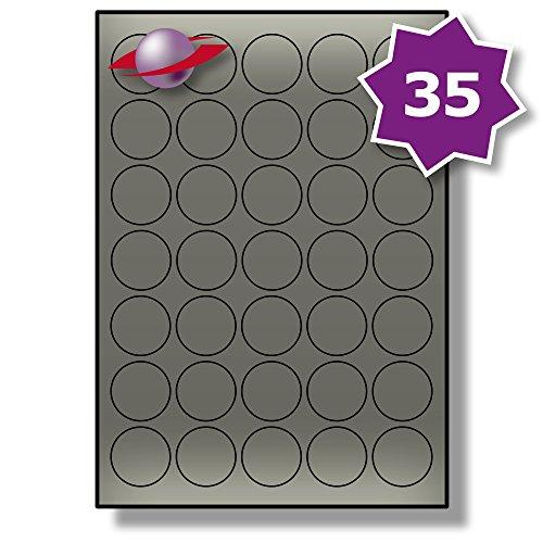 35 Per Page/Sheet, 100 Sheets (3500 ROUND METALLIC SILVER Sticky Labels), Label Planet® Self-Adhesive Blank Coloured A4 Circular Circle Dots For Pricing/Labelling/Coding, Printable With Laser Printers Only, UK LP35/37R LS, 37MM Diameter Circles