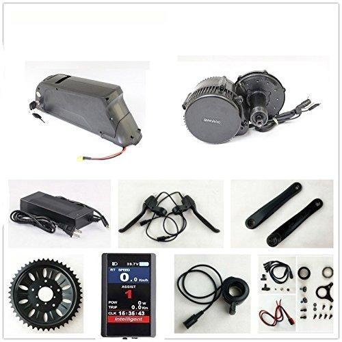 36V 500W Bafang 8fun Mid Crank Drive Motor Conversion Kits with LCD-TFT850C Display + 36V 11.6AH Down Tube ATLAS Frame Case Panasonic Cell Battery with 2A Charger