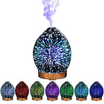 3D Effect Portable ultrasonic humidifier Decorative Aroma Glass Essential Oil Diffuser /3D Aromatherapy Essential Oil Diffuser, Cool Mist Humidifier with Changing Starburst LED Lights