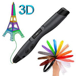 3D Printing Pen, One klick Intelligent 3D Pen with Free 6 Pack PLA REFILAMENTS, 3D Printer Drawing Pen with LCD Screen, Compatible with PLA & ABS, Portable, Arts Crafts Prefect Gift for Kids & Adults