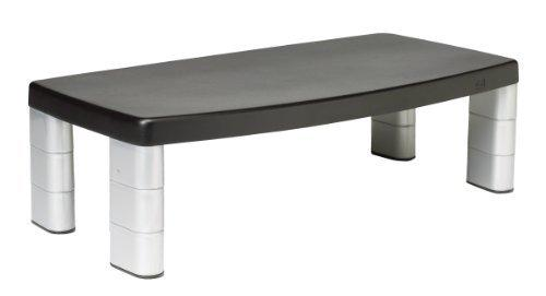 3M Extra Wide Adjustable Monitor Stand Height 1-Inch to 5 7/8-Inch, Holds 40 lbs, 16-Inch Space Between Columns, Silver / Black (MS90B) by 3M