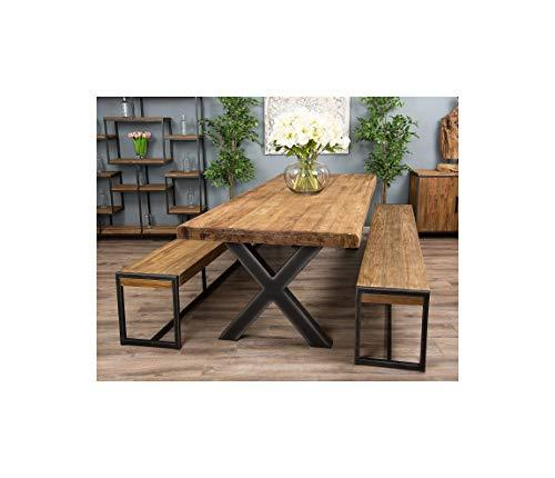 3m Reclaimed Teak Urban Fusion Cross Dining Table with Two Backless Benches