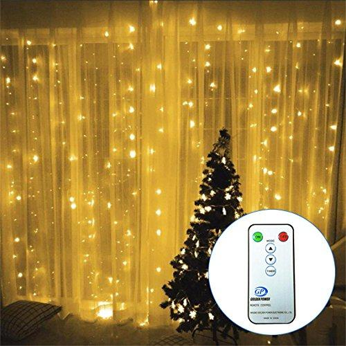 3M*3M/9.8ft*9.8ft Curtain String Lights with Remote Control LED String Fairy Light Window Icicle Backdrop Lights for Bedroom, Wedding, Party, Room, Garden Christmas (Warm White)