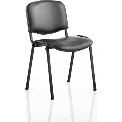 3WM ISO Stacking Chair Black Vinyl Black Frame Without Arms