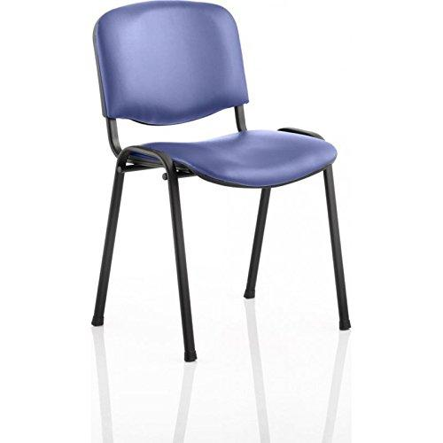 3WM ISO Stacking Chair Blue Vinyl Black Frame Without Arms