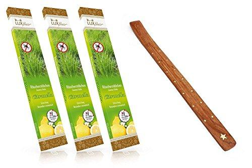 3x Giant anti mosquito garden incense Citronella + free XXL incense holder, 3hrs burning time per piece, 20pcs supply pack, extra long and very aromatic against mosquitoes, the alternative to citronella garden torch or lamp oil