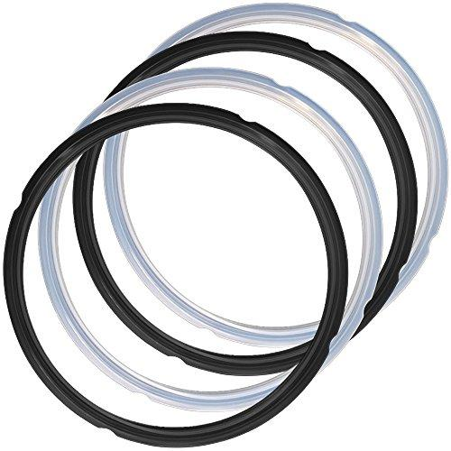 4 Pack Silicone Sealing Rings for Pressure Cooker Pot, FineGood 2 Colors 5/6qt Size Sweet and Savory Edition Accessory for Pressure Cooker - Black, Clear