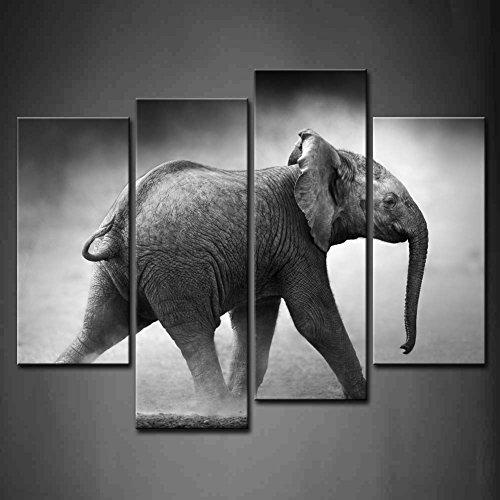 4 Panel Wall Art Black And White Baby Elephant Running In Dust Etosha National Park Gray Background Painting Pictures Print On Canvas Animal The Picture For Home Decor Piece Wooden Frame Ready To Hang