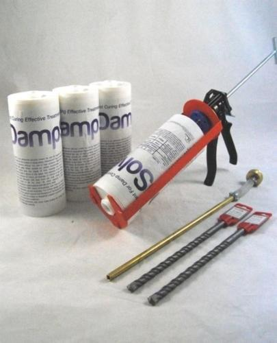4 X 1L DAMPSOLVE DAMP PROOF PROOFING INJECTION CREAM KIT (COMPLETE WITH HEAVY DUTY GUN & NOZZLE) DELIVERY TO MAINLAND UK ONLY