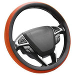 4 X Microfiber Leather Orange Steering Wheel Cover Easy Fit New
