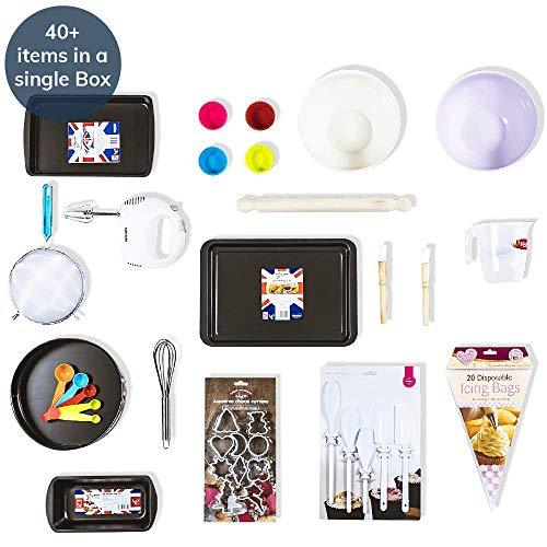 40+ Piece Baking Set by Noah's Box - Baking Starter Pack for Beginners, Juniors, Teenagers and Adults; Everything You Need to Learn to Bake in one Large Baking Kit (incl. Hand Mixer)