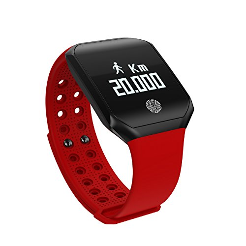 Fitness Tracker Watch, Activity Tracker Smart Watch Heart Rate Blood Pressure Monitor, IP67 Waterproof Smart Band Sleep Monitor Step Calorie Counter, Pedometer Watch for Kids Women Men (Red)