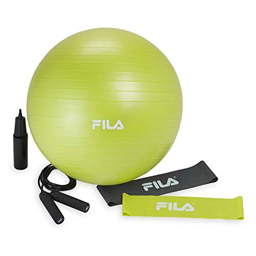 FILA Accessories Cardio Fit Exercise Starter Kit (55cm Balance Ball, Adjustable 9ft Jump Rope and Loop Resistance Bands)