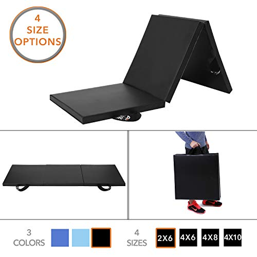 Day 1 Fitness Folding Gym Mat for Workout Equipment, Routines - 2'x6' Black - High-Density Foam, Exercise, Yoga, Gymnastics, Crossfit, Aerobics, Tumbling Mats - Eco-Friendly Foldable Pads