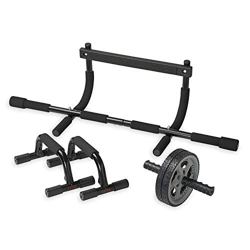 SPRI Gym Ab Wheel Push Up Bars Pull Up Bars Fitness & Exercise Kit