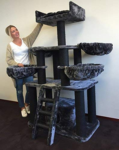 Cat tree for large cats Black Panther Dark Grey PLUS (With 4 hammocks) XXL extra big breed trees scratch post and adult towers furniture scratcher activity centre ...