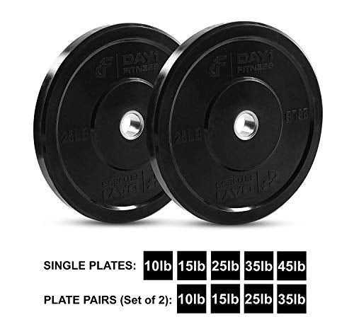 "Day 1 Fitness Olympic Bumper Weighted Plate 2"" For Barbells, Bars - 25 lb Set of 2 Plates - Shock-Absorbing, Minimal Bounce Steel Weights with Bumpers for Lifting, Strength Training, and Working Out"