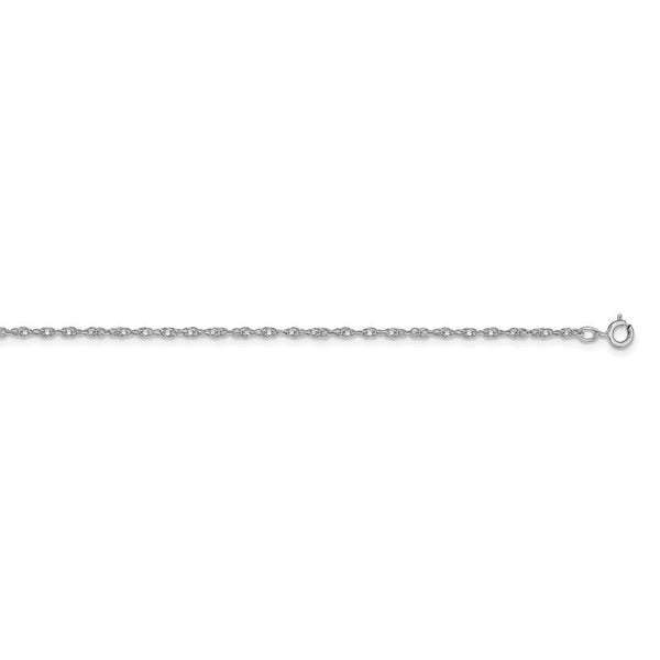 14ct White Gold 1.15mm Carded Cable Rope Chain Necklace Jewelry Gifts for Women - 61 Centimeters