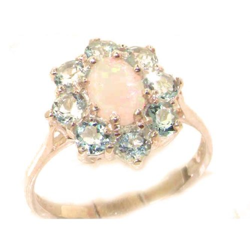 Luxury Ladies Solid 9ct Rose Gold Natural Opal & Aquamarine Cluster Ring - Size Y 1/2