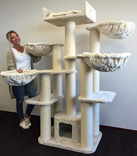 Cat tree for large cat Maine Coon Fantasy Plus Cream White with 15cmØ poles and 120x60x183cm cat scratcher scratching post activity centre. Cat Trees for large cats. Quality production from RHRQuality